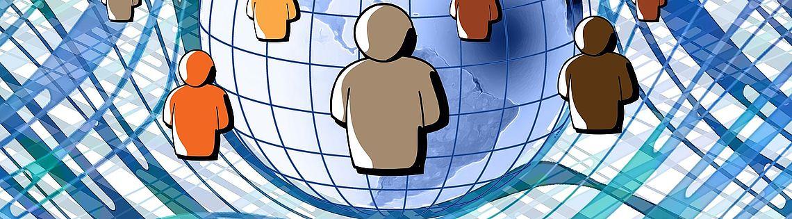 Menschen als bunte Figuren auf der Erde vernetzt - Grafik